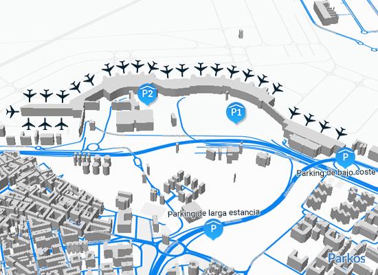 Mapa de estacionamento do aeroporto de Madrid T1 T2 T3