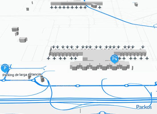Mapa de estacionamento do aeroporto de Madrid T4 T4s